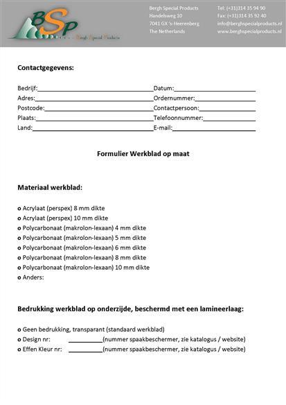 Pdf formulier werkblad op maat bergh special products - Werkblad bo is op maat ...